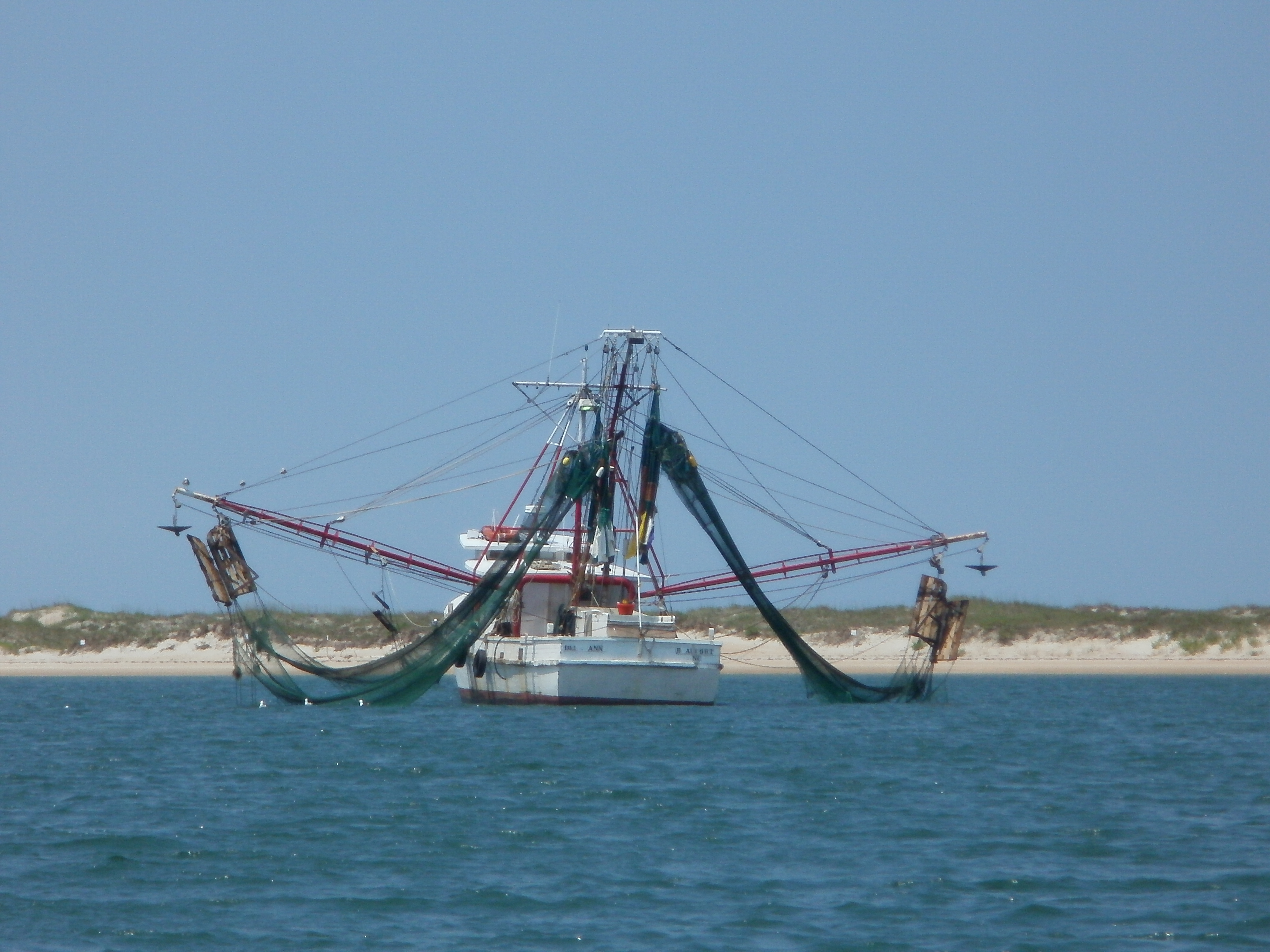 A shrimper at anchor